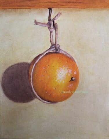 Hanging Orange. Greetings card.