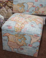 Storage/toy box in map fabric