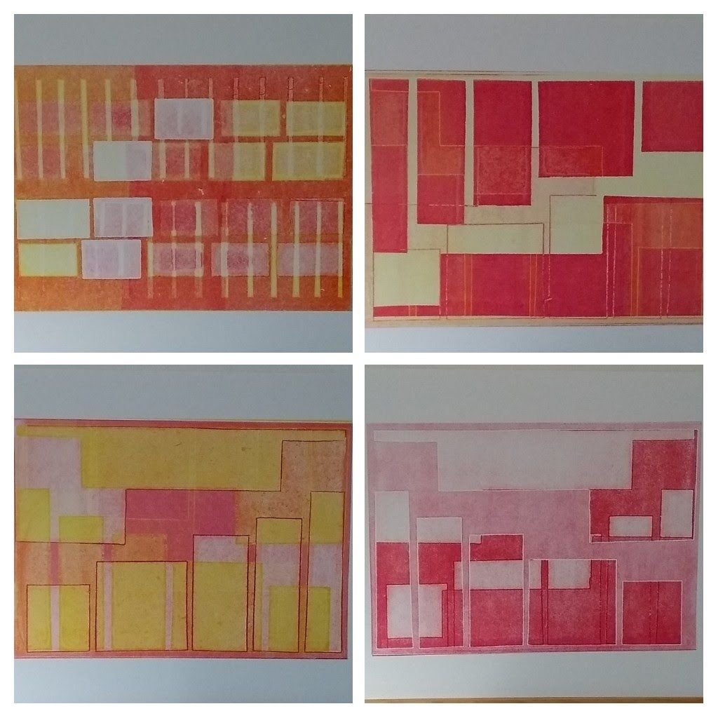 townscape collage of monoprints