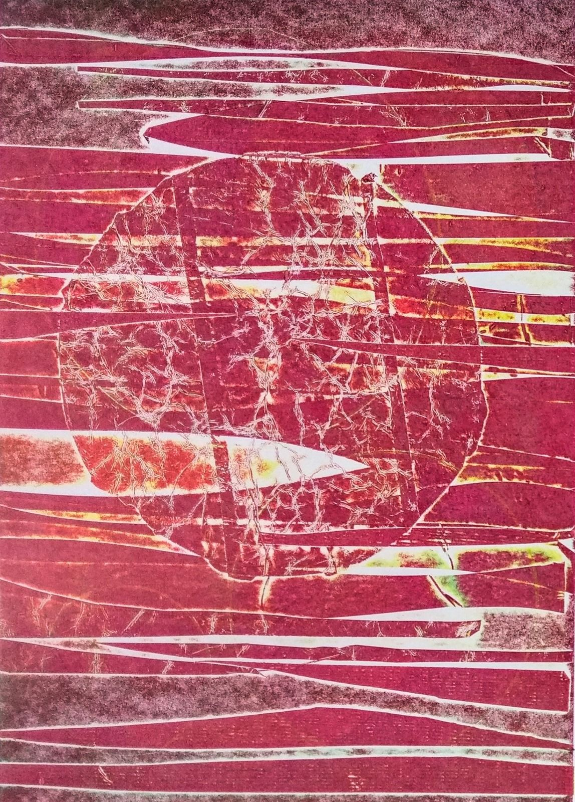 Collagraphy, planets, solar system, space, red, raspberry, orange