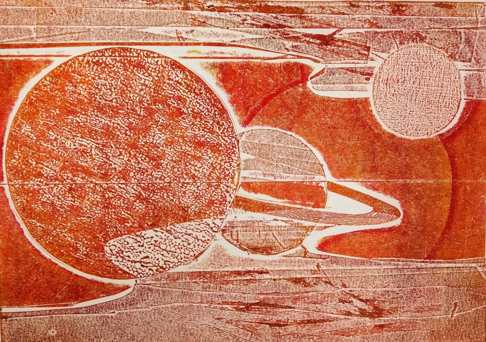 Collagraphy texture detail in orange