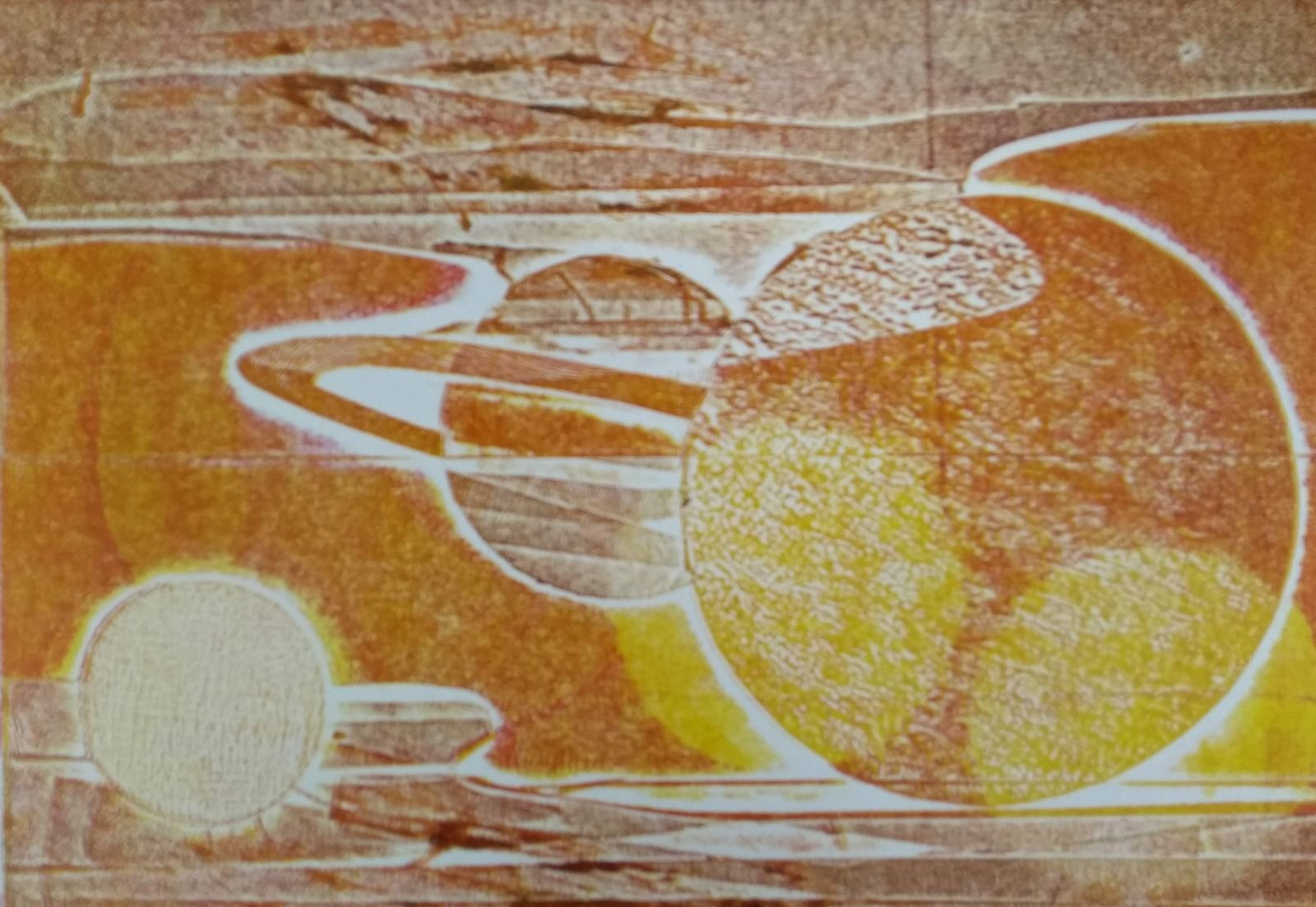 Collagraphy, planets, solar system, space, orange, tangerine