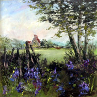 Bluebells in the Hedgerow - Barbara Harlow