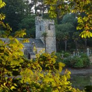 Sunset at St Just in Roseland Church