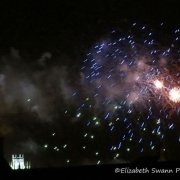 Ely Fireworks over the rooftops
