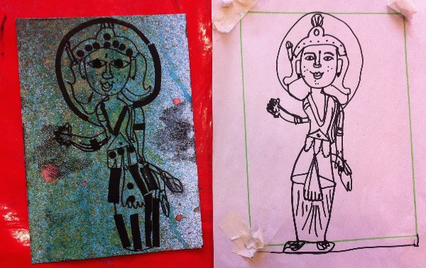 Drawing and print of 'Goddess'