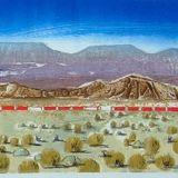 Freight train across the Mojave Desert