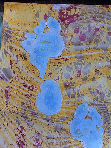 Marbled panel detail; footprint