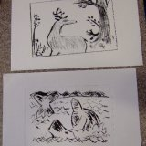 Some finished drypoint prints