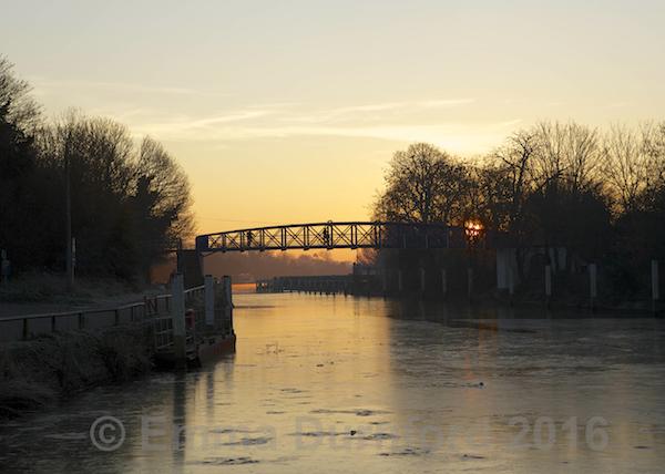 Teddington footbridge in the winter sunrise