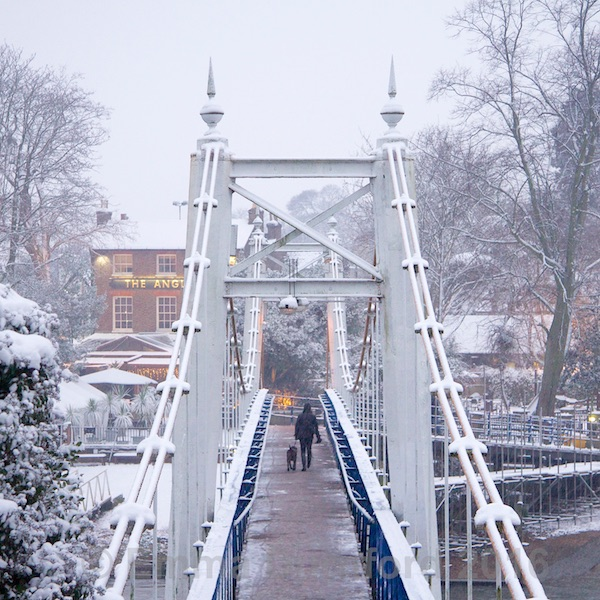 Teddington Footbridge and the Anglers pub in Winter