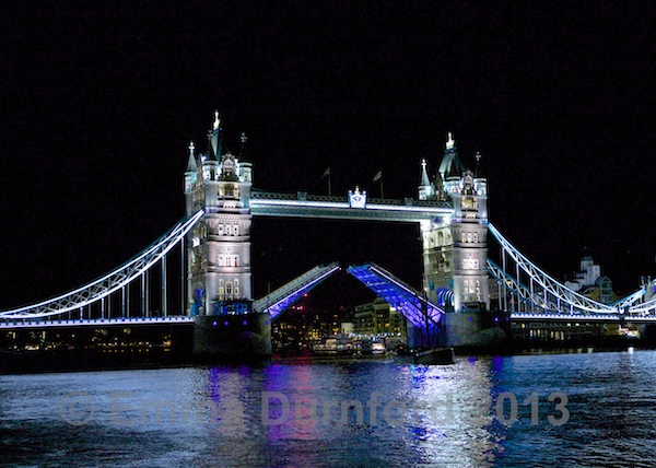 Tower bridge open at night (1)