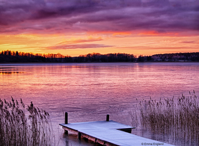 A Winter's Sunset on the Lake