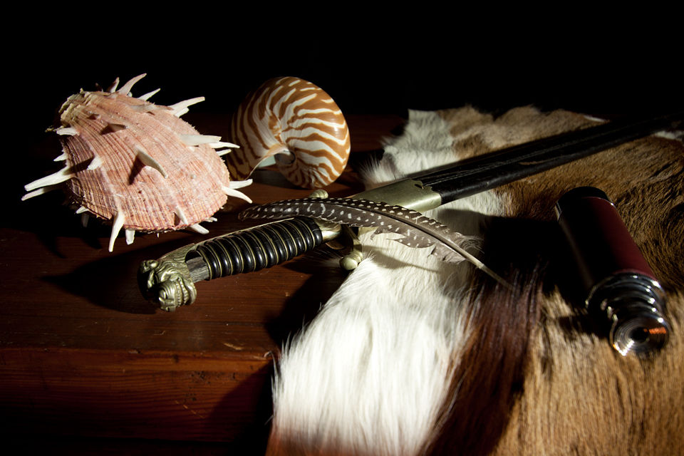 A still life with nautilus shell, Regal Thorny Oyster shell, bird feather, springbok skin, looking glass and French hunting sword. Canon 50D, Canon EF-S 10-22mm f/3.5-4.5 USM, 2s, f/4,5, iso 100, tripod.