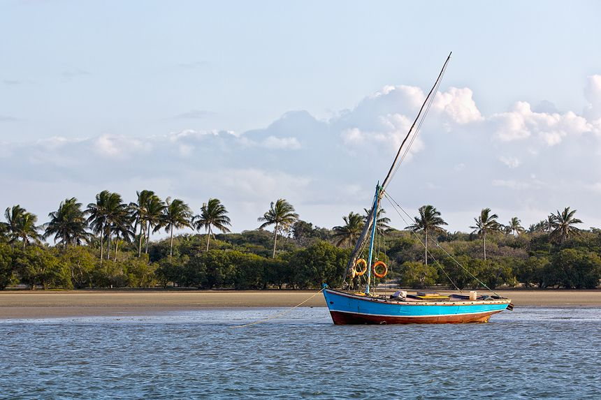 A dhow (traditional fishing boat) in Maputo Bay.