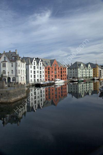 reflection on Alesund, Norway
