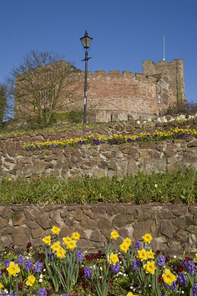 Tamworth Castle and flower beds.