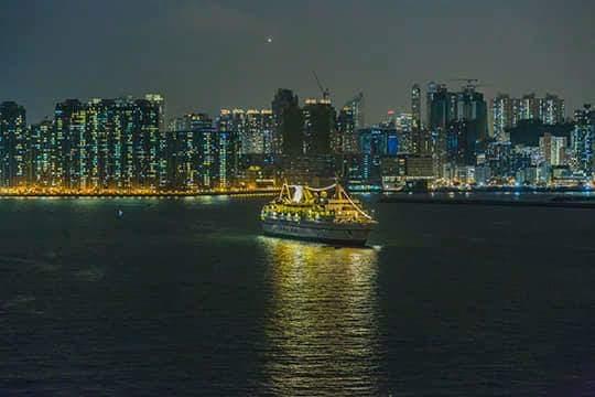 Hong Kong harbor by night.