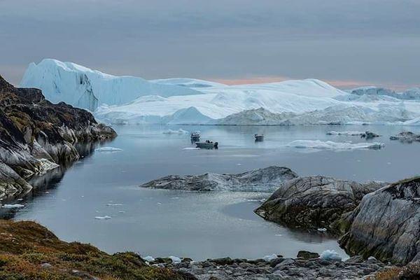 Sunset and Icebergs.