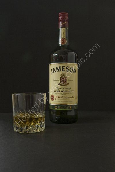 Jameson Whiskey and glass.