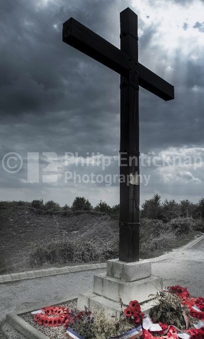 Tyneside Memorial Cross at the Lochnagar Mine Crater La Boisselle Somme France