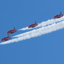The Red Arrows RAF aerobatic display team.