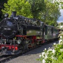 Steam train on the Zittau Railway,Saxony ,Germany.