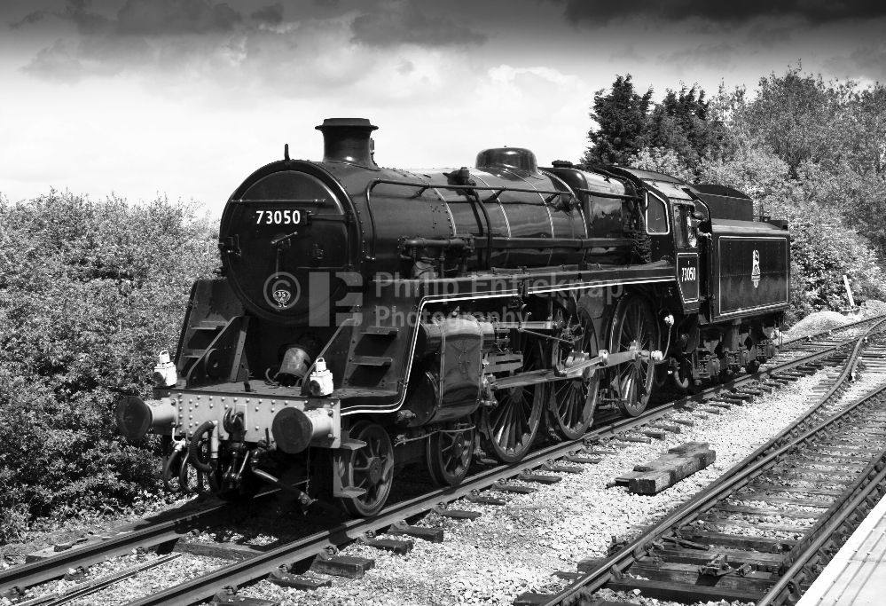 "BR Class 5MT 4-6-0 No 73050 "" City of Peterbough "" at the Nene Valley Railway Cambridgeshire."