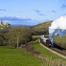 Steam Train on the Swanage Railway near Corfe Castle, Dorset.England