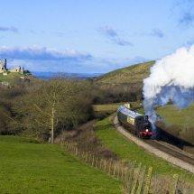 Steam Train on the Swanage Railway near Corfe Castle, Dorset.England
