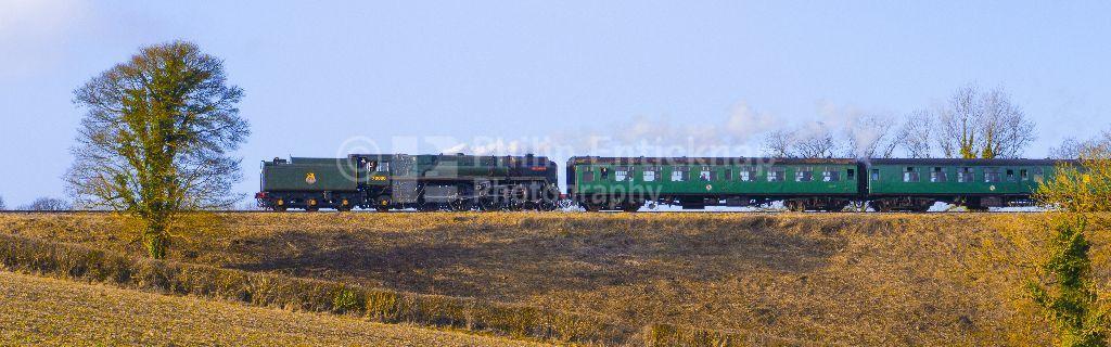"BR Standard class 7 steam locomotive No 70000 "" Britannia "" on the Mid Hants Railway (Watercress Line) Hampshire."