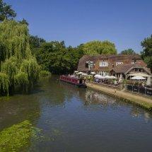 Riverside Pub & Canal Narrow Boat .Pyrford Lock Surrey.