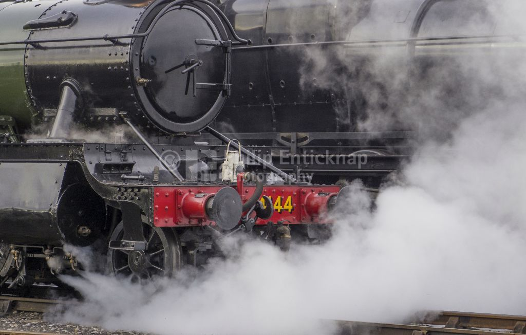 Steam emitting from a locomotive
