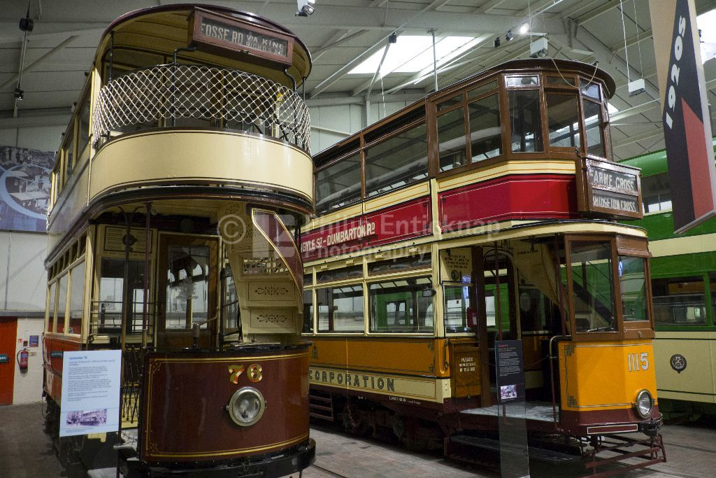 Vintage Trams on display at Critch Tramway Village ,Derbyshire, England