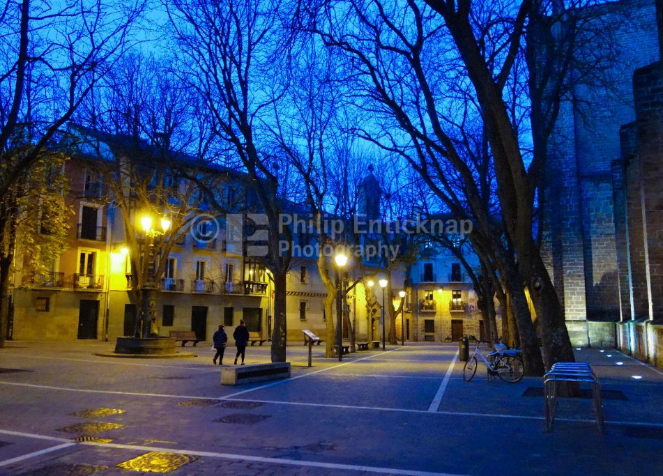 Square in old town ( Casco Viejo ) Pamplona Navarra Spain