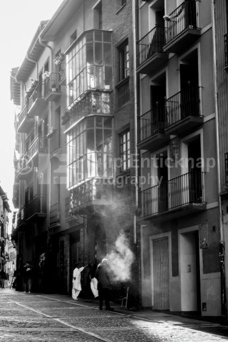 Street Sceane Pamplona Old Town.Navarra Spain