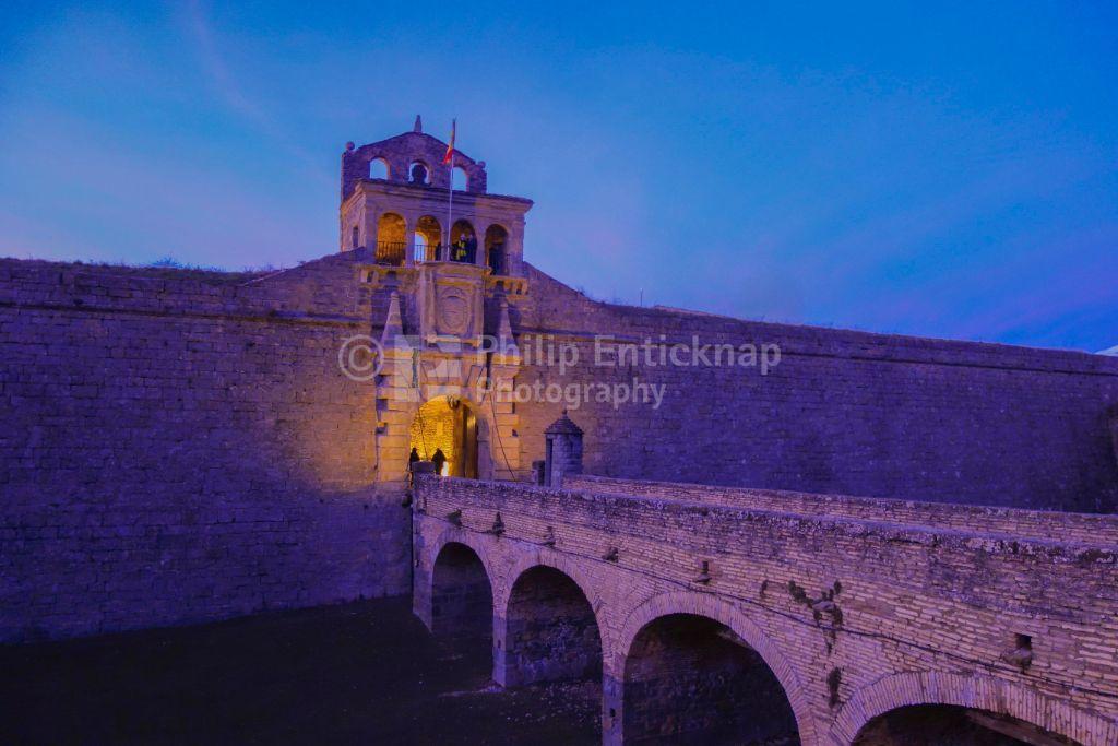Bridge over moat to Gateway to Ciudadela de Jaca, Jaca, Huesca, Spain