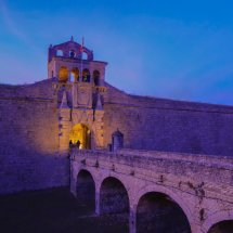 Bridge over moat to Gateway to Ciudadela de Jaca, Jaca, Huesca, Spain