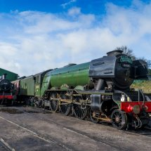 "Flying Scotsman at Mid Hants Railway ' Watercress Line "" February 2018 With LMS Ivatt Class 2MT 41312 alongside"