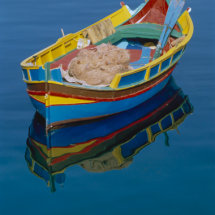 Traditionally colourfully painted fisherman's rowing boat.