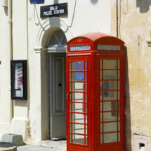Police Station with Blue Lamp & Red Telephone Box.Gharb,Gozo