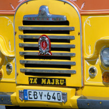 Front of A Yellow Malta Bus
