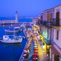 Harbourside Cafe Scene, Rethymnon Crete, Greece