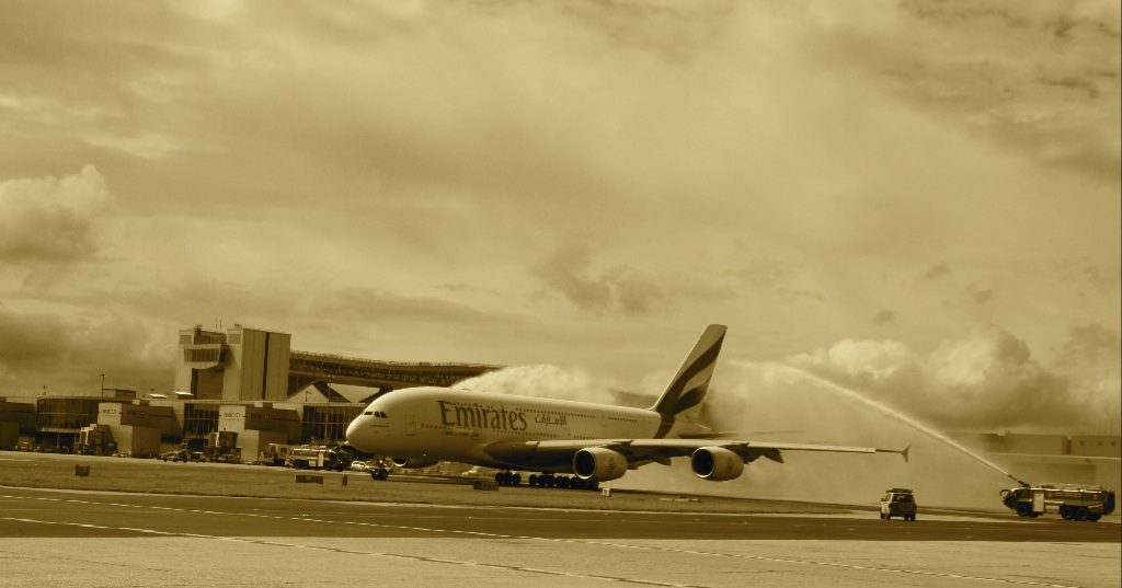 A380 water arch