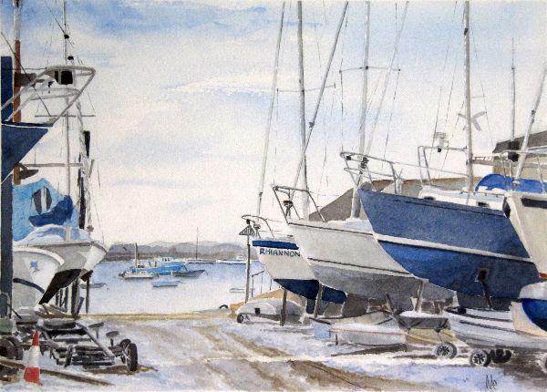 Mersea Boatyard in Winter