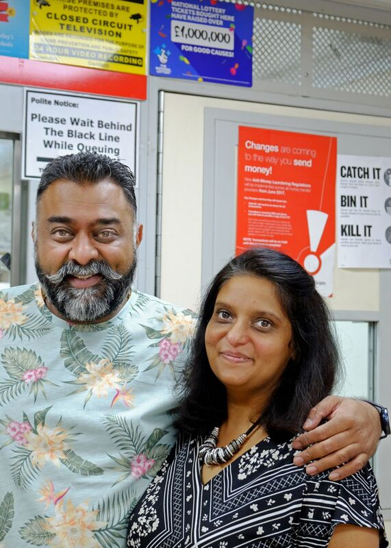 Tushar and Dolly, South Croydon Post Office Counter