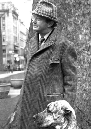 Auberon Waugh and hired Great Dane in Soho Square - at the time of the Jeremy Thorpe scandal in the 1970's.