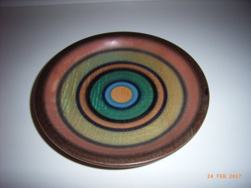 Coloured Platter : Spalted Beech : 9 inches diameter : Ref 590