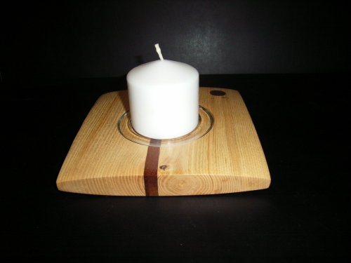 Centrepiece candleholder :  Olive Ash with Mahogany inserts : 8 inches square : Ref 511