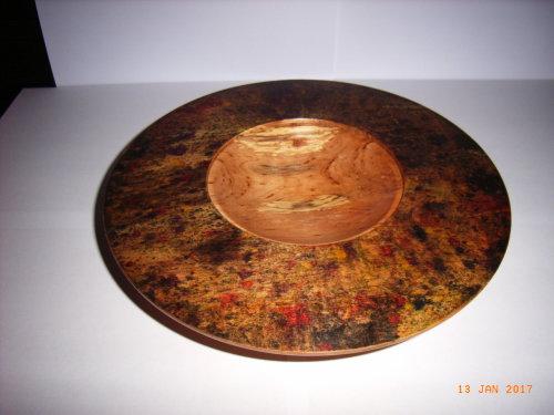 "Alder bowl ""Autumn"" : 10 inch dia  :  Ref No:573"